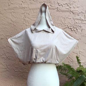 Faux Suede Hooded Shroud Crop Top